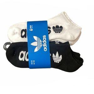 Adidas No Show Socks 6 Pairs Pack Black White Grey